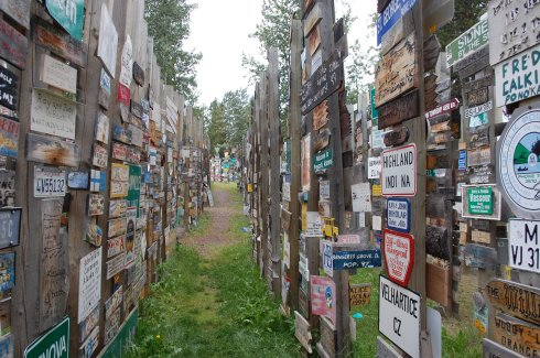 Walking through Sign Post Forest, Watson Lake, Yukon