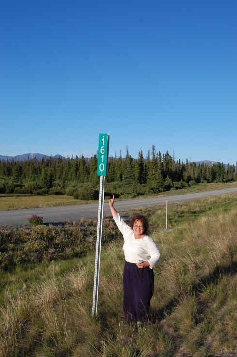 Mom at Mile 1000 (1610 km) of the Al-Can Highway